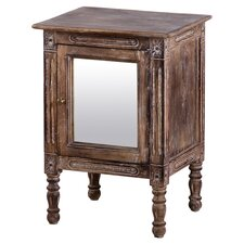 Mirrored Door Nightstand in Burnt Brown