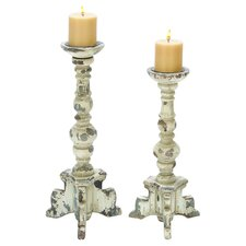 2 Piece Candle Holder Set in Ivory