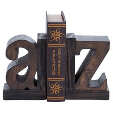 A to Z 2 Piece Bookend Set in Brown
