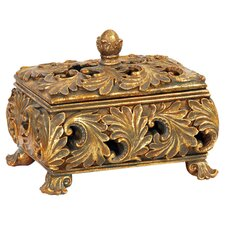 Textured Leaf Decorative Keeping Box in Antique Gold