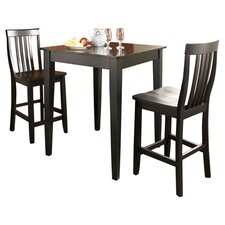 3 Piece Pub Dining Set with Tapered Leg in Black