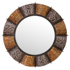 Round Metal Wall Mirror in Antique Silver & Amber