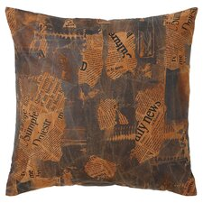 Newspaper Leather Pillow in Brown