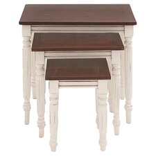 3 Piece Nesting Table Set in Brown & Ivory