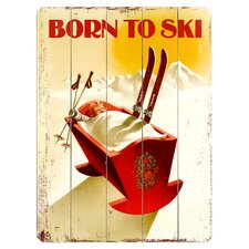 Born to Ski Wood Plaque