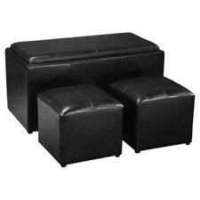 Sheridan 3 Piece Storage Ottoman Set in Black