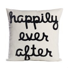 Happily Ever After Throw Pillow in Cream & Black
