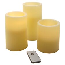 3 Piece LED Flameless Candle Set in Ivory