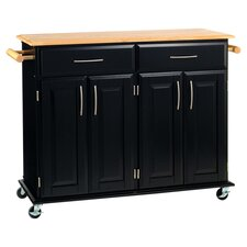 Dolly Madison Wood Top Kitchen Cart in Black