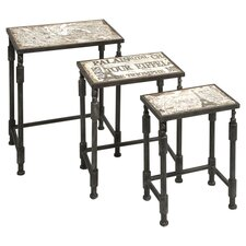 Knoxlin 3 Piece Nesting Table Set in Brown & Black