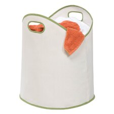 Canvas Laundry Basket in White & Green