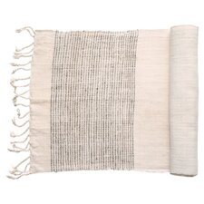 Borders Peace Silk Table Runner in Gray