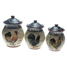 Lille Rooster 3 Piece Canister Set in Ivory