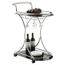 Annie Serving Cart in Silver & Black