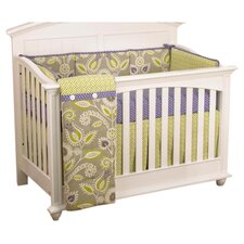 Polka Dot 4 Piece Crib Bedding Set in Green & Periwinkle