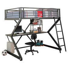Drew Full Over Workstation Loft Bed in Black