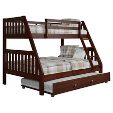 Vivian Twin Over Full Trundle Bunk Bed in Dark Cappuccino