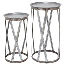 2 Piece Nesting Table Set in Silver