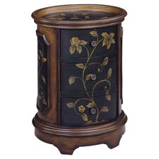 Delia Floral End Table in Black