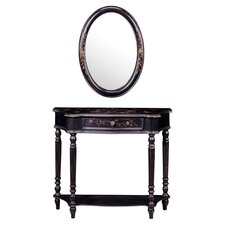 Maribeth Console Table & Mirror Set in Black