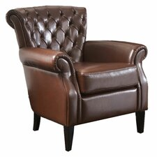 Franklin Tufted Leather Arm Chair in Brown
