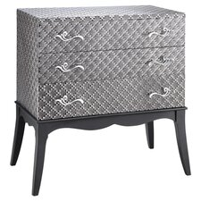 Painted Treasures 3 Drawer Accent Chest in Silver