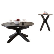 2 Piece Coffee & End Table Set in Black