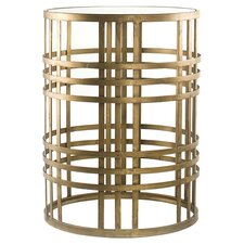Jefferson Barrel Table in Antique Gold