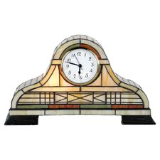 Tiffany Clock Table Lamp in Beige