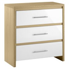Copenhagen 3 Drawer Chest in White & Oak