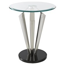 Glass Tripod End Table in Silver