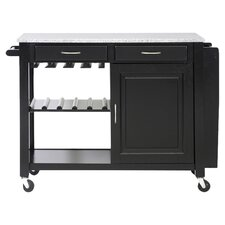 Baxton Granite Top Kitchen Island in Black