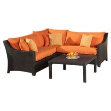 Tikka 4 Piece Seating Group in Espresso with Orange Cushions