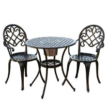 Loft 3 Piece Bistro Set in Black