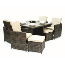 Hermus 9 Piece Cube Dining Set in Espresso
