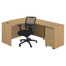 Series C Right Front Desk & Chair Set in Oak