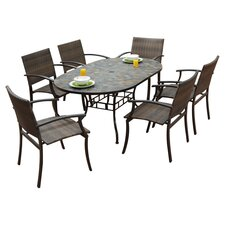 Stone Harbor 7 Piece Oval Dining Set in Black