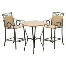 Valencia 3 Piece Bistro Bar Set in Pecan