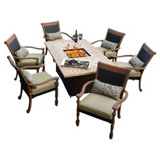 Luxum 7 Piece Fire Pit Dining Set in Caramel with Beige Cushions