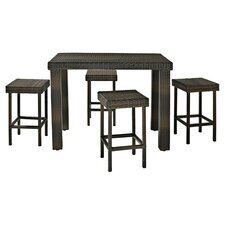Palm Harbor 5 Piece Bar Dining Set in Brown