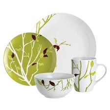 16 Piece Dinnerware Set in Green & White