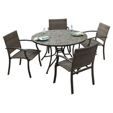 Stone Harbor 5 Piece Large Dining Set in Black