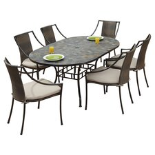 Stone Harbor 7 Piece Cushion Dining Set in Stone