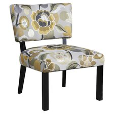 Floral Slipper Chair in Grey