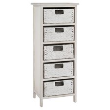 Water Hyacinth 5 Drawer Chest in White