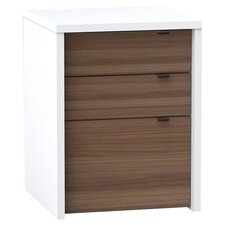 Liber-T 3 Drawer File Cabinet in White & Walnut