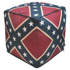 Confederate Flag Pouffe in Red & Blue