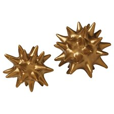 Urchin 2 Piece Objet Sculpture Set in Gold
