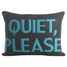 Quiet Please Pillow in Charcoal & Turquoise Felt