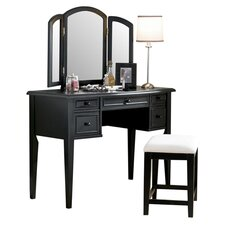 Eve Vanity & Stool Set in Antique Black